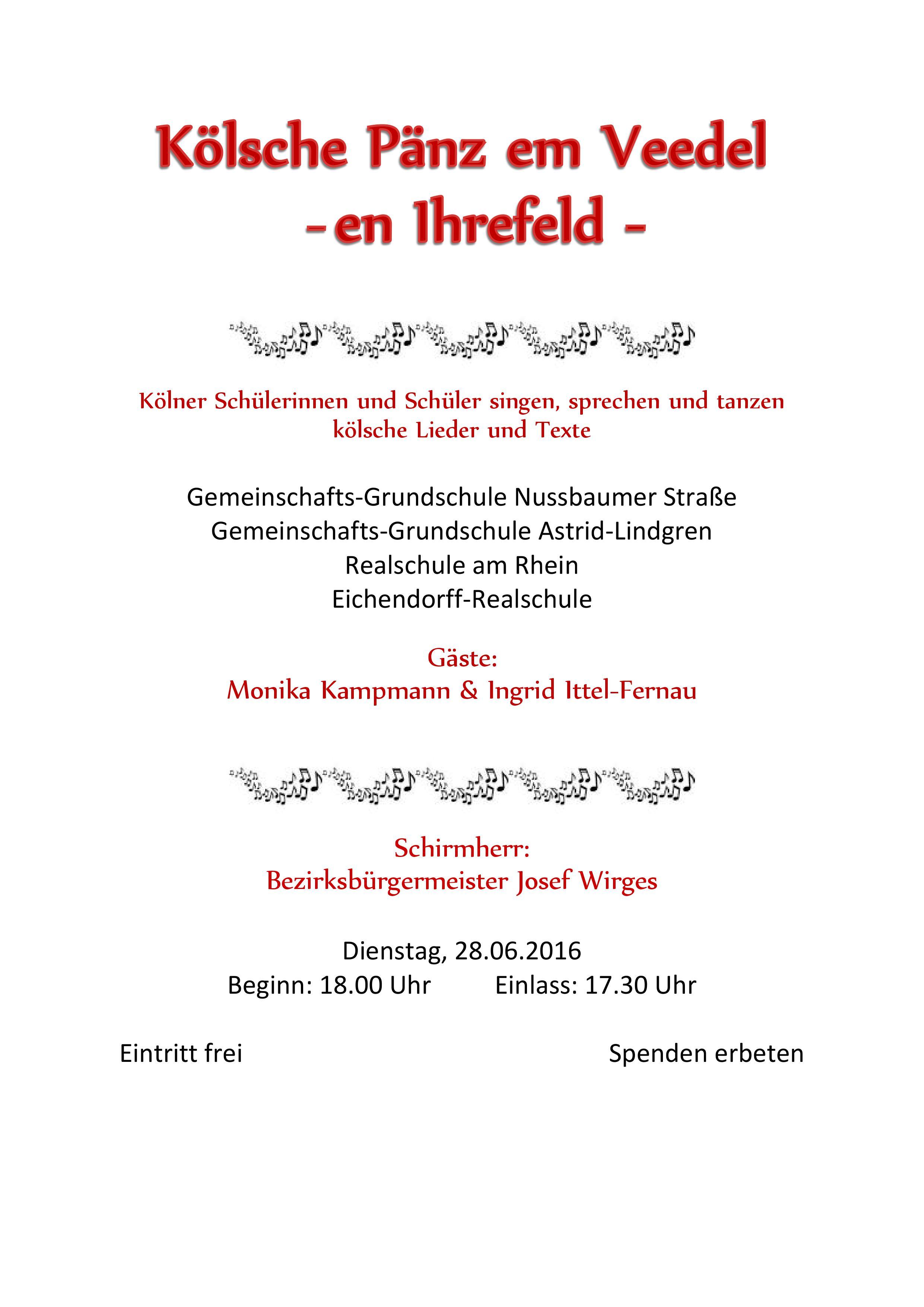 Kölsche Pänz em Veedel – 28.06.2016 18 Uhr